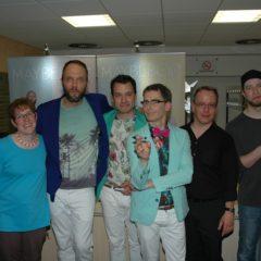 Projektleiterin Katja Banzhof und Projektleiter Georg Schlierbach mit der Band Maybebop